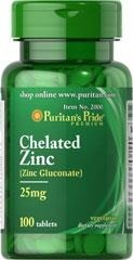 Puritan's Pride Chelated Zinc (Glukonian cynku) 25 mg – 100 tabletek NEW!!