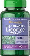 DGL Licorice Extract 380 mg - 100 tabletek - BRAK