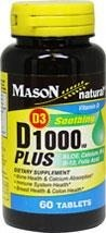Mason Naturals  D3 1000 Plus Aloe, Calcium, B 6, B 12, Folic Acid BRAK
