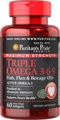 Maximum Strength Triple Omega 3-6-9 (Borage)  - 60 tabletek - BRAK