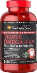 Maximum Strength Triple Omega 3-6-9 (Gamma Linolenic Acid (GLA)(Borage)  - 240 tabletek - BRAK