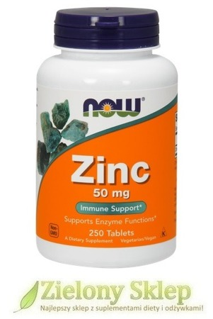 NOW Foods Zinc Gluconate (Glukonian cynku / cynk ) - 50 mg - 250 tabletek NEW! - 40 % TANIEJ!