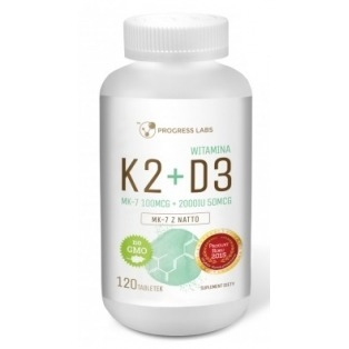 Progress Labs - Witamina K2 MK7 Natto 100 mcg + D3 2000IU 50 mcg (naturalna, D3 - lanolina) - 120 tabletek