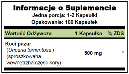 Puritan's Pride Cat's Claw (koci pazur) 500 mg - 100 kapsułek - 70 % TANIEJ! NEW!
