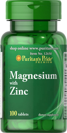 Puritan's Pride Magnesium with Zinc (Magnez + Cynk) – 100 tabletek - 70 % TANIEJ! NEW!