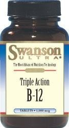 SWANSON Triple Action B-12 (witamina B12 / b 12) - 1,000 mcg - 90 tabletek BRAK