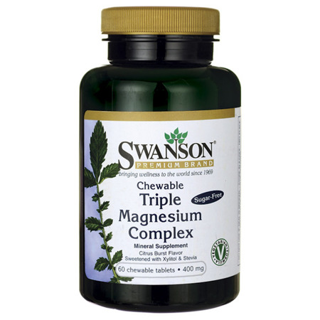 SWANSON Triple Magnesium Complex - 60 tabletek do ssania