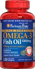 Triple Strength Omega-3 Fish Oil 1360 mg - 120 kapsułek BRAK