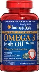 Triple Strength Omega-3 Fish Oil 1360 mg - 60 kapsułek - BRAK